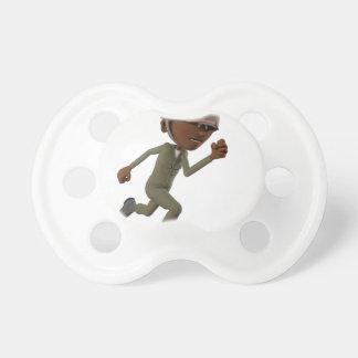 Cartoon African American Soldier Running Dummy
