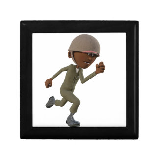 Cartoon African American Soldier Running Gift Box