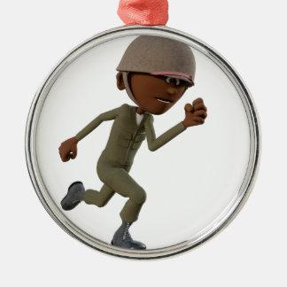 Cartoon African American Soldier Running Metal Ornament