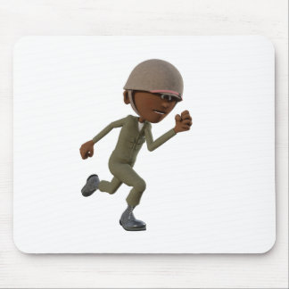 Cartoon African American Soldier Running Mouse Pad