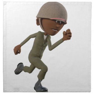 Cartoon African American Soldier Running Napkin