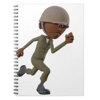 Cartoon African American Soldier Running Notebook