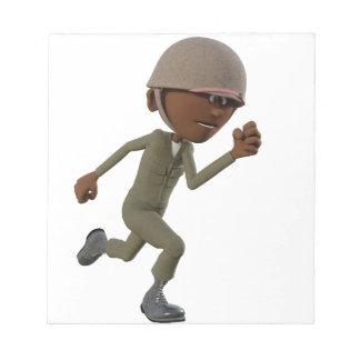 Cartoon African American Soldier Running Notepad