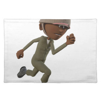 Cartoon African American Soldier Running Placemat
