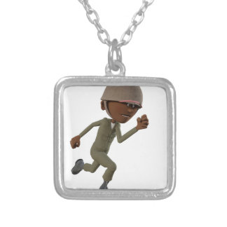 Cartoon African American Soldier Running Silver Plated Necklace