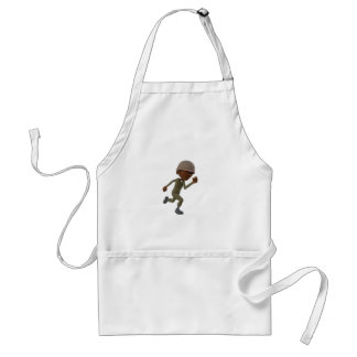 Cartoon African American Soldier Running Standard Apron