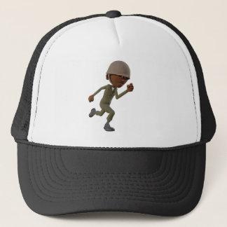 Cartoon African American Soldier Running Trucker Hat