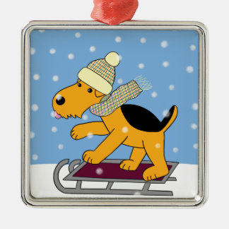 Cartoon Airedale On Sled Premium Square Ornament