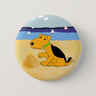 Cartoon Airedale Terrier Dog at the Beach Button