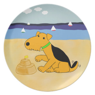 Cartoon Airedale Terrier Dog at the Beach Plate