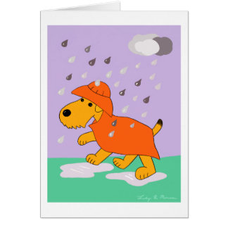 Cartoon Airedale Terrier Dog in Rain Greeting Card