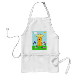 Cartoon Airedale Terrier Dog in the Garden Apron
