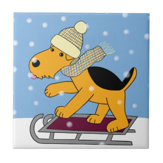 Cartoon Airedale Terrier Dog on Sled Ceramic Tile