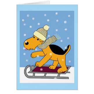 Cartoon Airedale Terrier Dog on Sled Greeting Card