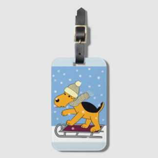 Cartoon Airedale Terrier Dog on Sled Luggage Tag