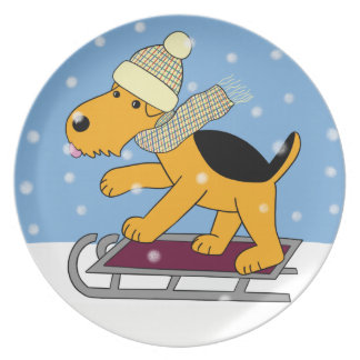 Cartoon Airedale Terrier Dog on Sled Plate