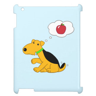 Cartoon Airedale Terrier Dog Thinking of an Apple iPad Case