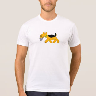Cartoon Airedale Terrier Dog w Hat Design shirt