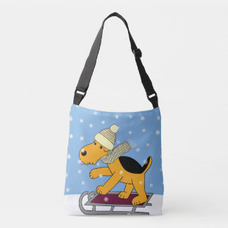 Cartoon Airedale Terrier Dog w Sled Cross Body Bag