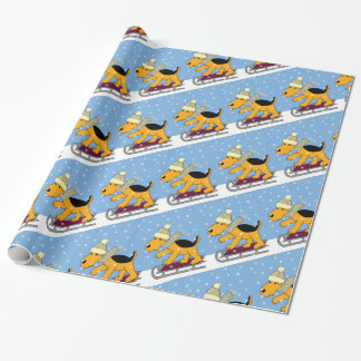 Cartoon Airedale Terrier Dog w Sled Wrapping Paper