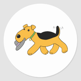 Cartoon Airedale Terrier Dog with Hat Sticker Set