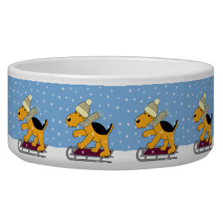 Cartoon Airedale Terrier Dogs on Sleds Pet Bowl