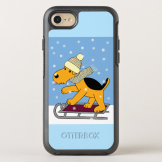 Cartoon Airedale Terrier on Sled iPhone 7 OtterBox