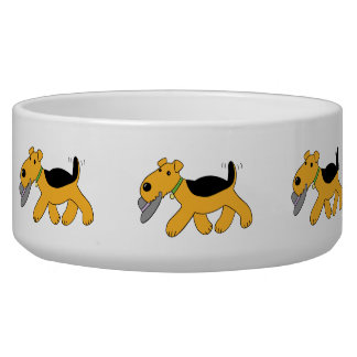 Cartoon Airedale Terrier w Hat Large Dog Bowl