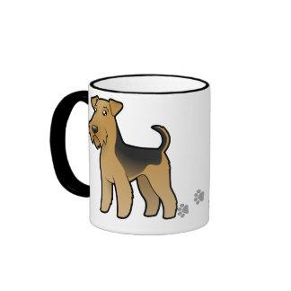 Cartoon Airedale Terrier / Welsh Terrier Coffee Mugs