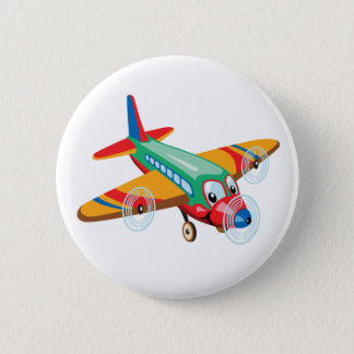 cartoon airplane 6 cm round badge