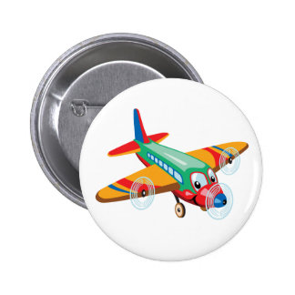 cartoon airplane 6 cm round badge