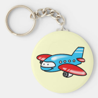 cartoon airplane basic round button key ring