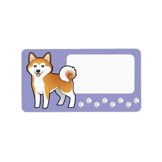 Cartoon Akita Inu / Shiba Inu Address Label