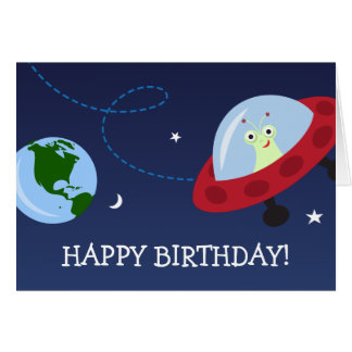 Cartoon alien with spaceship Happy Birthday card