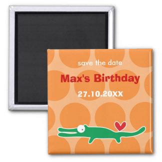Cartoon Alligator Kid Custom Save The Date Magnet
