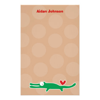 Cartoon Alligator Kid Custom Thank You Stationery