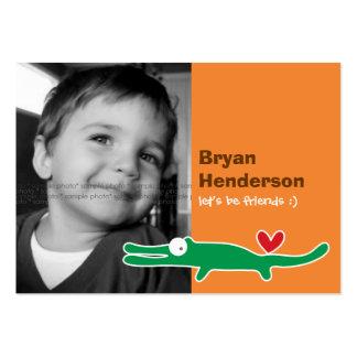 Cartoon Alligator Kids Custom Photo Playdate Card Business Card Template