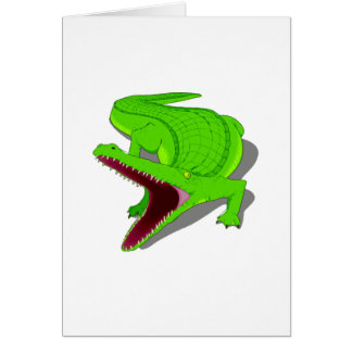 Cartoon Alligator with Its Mouth Open Greeting Cards