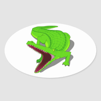 Cartoon Alligator with Its Mouth Open Oval Sticker