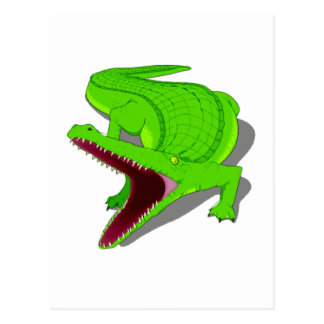 Cartoon Alligator with Its Mouth Open Post Card