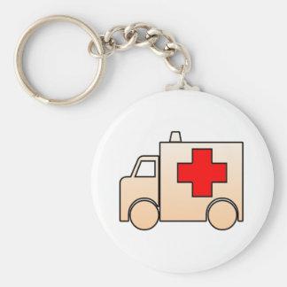 Cartoon Ambulance Basic Round Button Key Ring