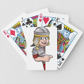 Cartoon Ancient Roman Soldier Pointing Bicycle Playing Cards