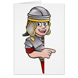 Cartoon Ancient Roman Soldier Pointing Card