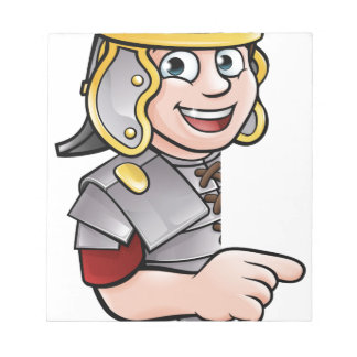 Cartoon Ancient Roman Soldier Pointing Notepad