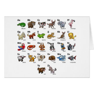 Cartoon Animal Alphabet Chart Set Card