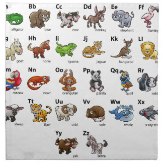 Cartoon Animal Alphabet Chart Set Napkin