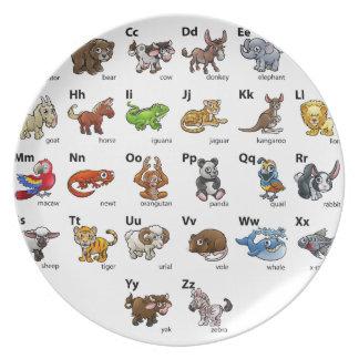 Cartoon Animal Alphabet Chart Set Plate