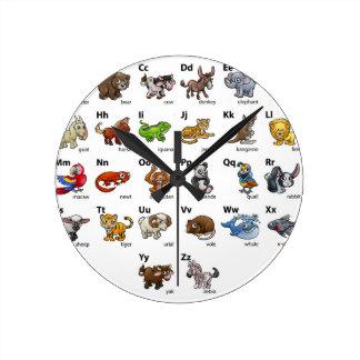 Cartoon Animal Alphabet Chart Set Round Clock
