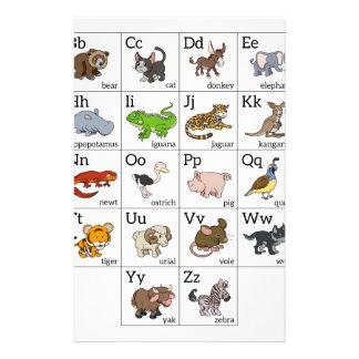 Cartoon Animal Alphabet Chart Customized Stationery