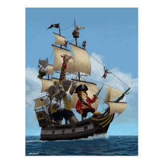 Cartoon Animal Pirate Ship Postcard